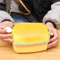 Retangular hamburger bento box com colher lancheira trilaminar plástico PP excursion caminhadas ferramentas de lata bagunça frete grátis F-52