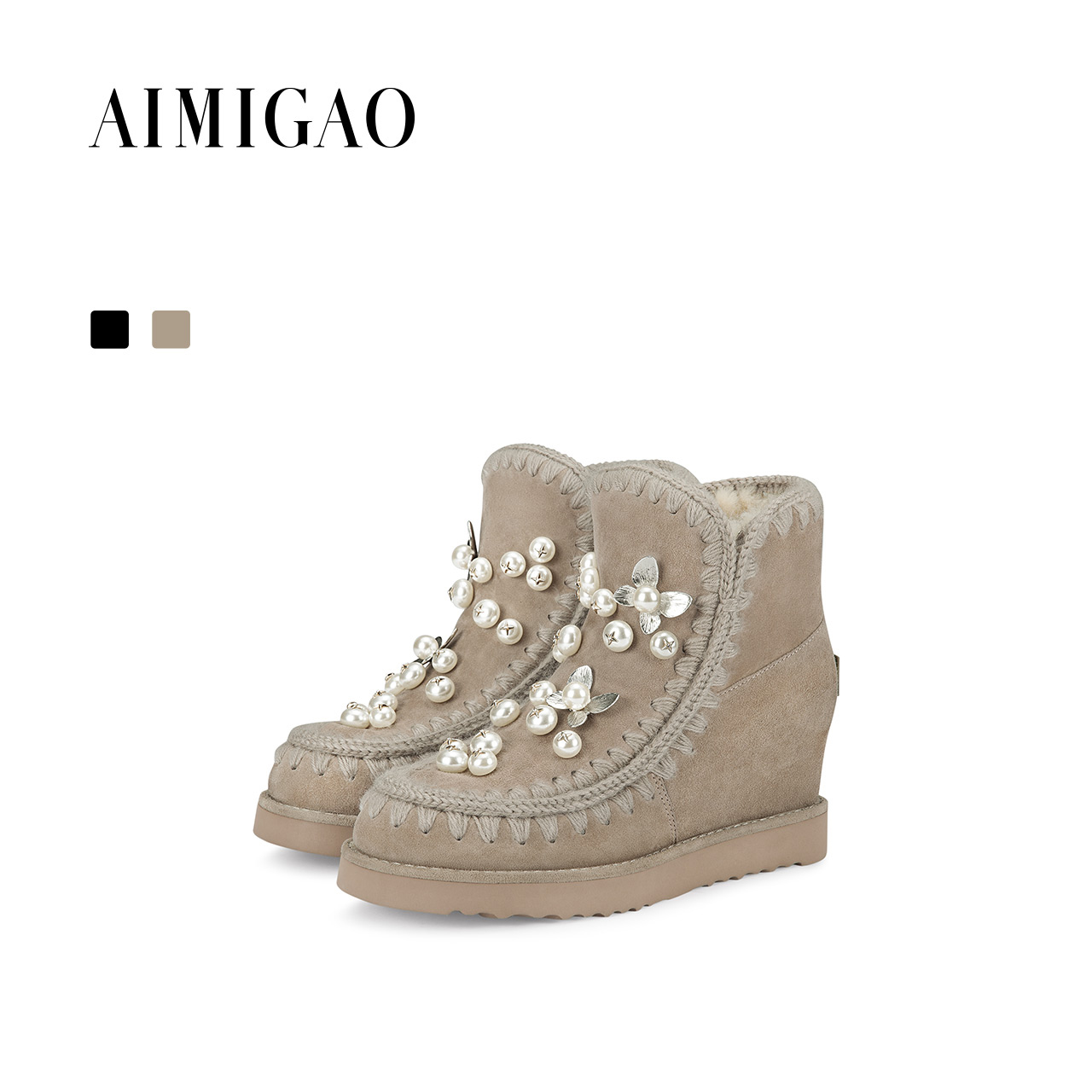 AIMIGAO Suede leather Women winter snow boots 100% Natural Wool Fur 2017new round toe height increased fashion ankle boots women