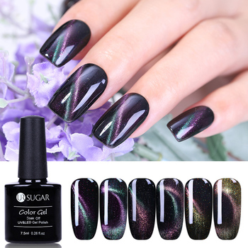 UR SUGAR Chameleon Cat Eye Glitter Nail Gel Varnish 3D Magnetic Gel Soak Off UV Gel Polish Lacquer with Strong Magnetic Board