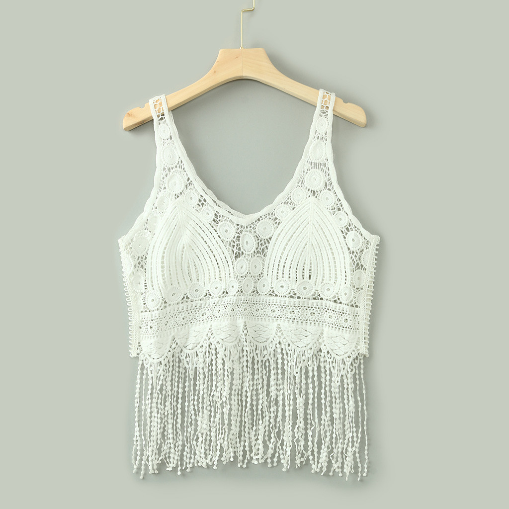 Women Knitted   Tank     Top   Hollow Out Tassel Solid V Neck Sleeveless Womens Summer Crop   Top   Cropped Feminino Fitness Femme 2019 New