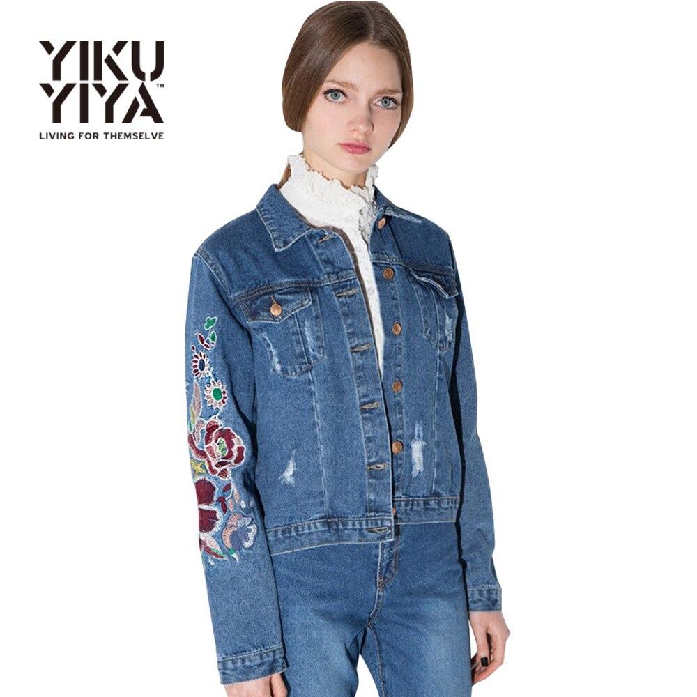 YIKUYIYA Apparel New Women Jackets Casual Elegant Embroidery Vintage Basic Jacket Blue Double Pockets Single Breasted