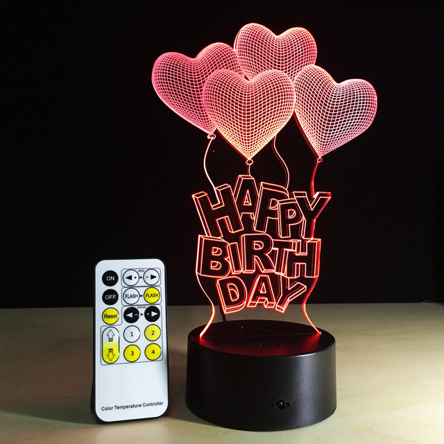Happy Birthday LED 3D Visual Stereo Lamp 7 Colors Changing Indoor Bedroom Night Light Acrylic Desk