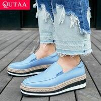 QUTAA 2019 Women Shoes Platform Wedges Heel All Match Slip on Square Toe Women Pumps Casual Elegant Women Pumps Size 34 40