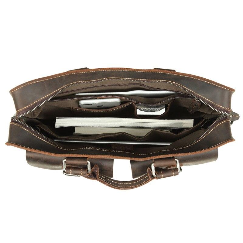 Aktentasche ''laptop M6380 A4 Büro Männlichen Bags Nesitu 14 dark Dicke Crazy Messenger Portfolio Vintage Männer Horse Leder Brown Brown Echte xPOgRw