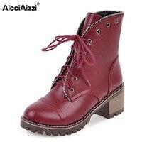 AicciAizzi גודל 33-43 מגפי עקב גבוה גברת נשים צלב רצועת חור עקבים עבים בוהן עגול אתחול נשי החורף חם ורך Botas Mujer