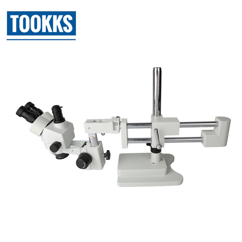 7X-45X Zoom PCB Inspection Bearing Boom Stand Stereo Trinocular Microscope Electronic Repair Microscope For Phone Repair lucky zoom brand 3 5x 90x stereo trinocular microscope large stand microscope for soldering pcb inspection mobile phone repair