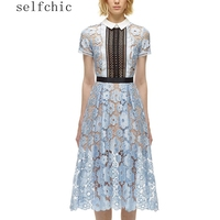 Short Sleeve Woman Light Blue Lace Midi Dresses SALE
