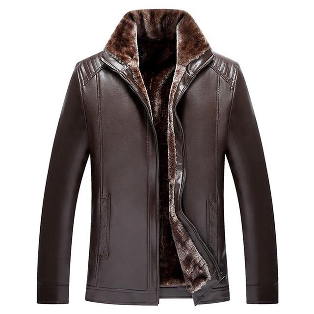 Winter Leather Fur Lined Jacket Men 2017 Faux PU Suede Down Coat Male  Outdoors Warm Overcoat