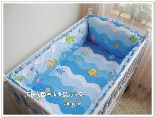 Promoção! 6 PCS peixe berço jogo do fundamento menino infantil algodão bebê lençol conjunto fundamento do bebê, Incluem : ( bumper + ficha + fronha )