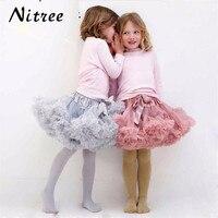 In Stock Girls Fluffy S M L Chiffon Pettiskirt Solid Colors TuTu Skirts Girl Dance Skirt Christmas Tulle Petticoat