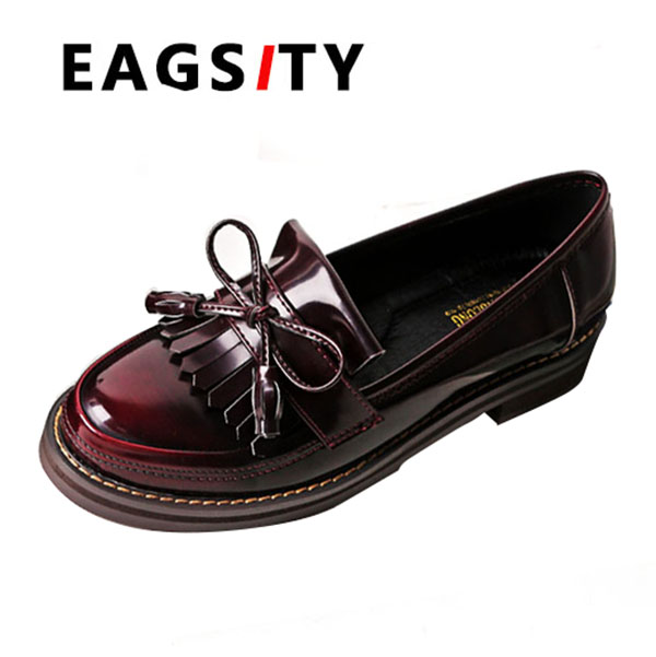 vintage loafers flats casual shoes women slip on round toe boat shoes  ladies tassel oxfords shoes wine red -in Women's Flats from Shoes on  Aliexpress.com ...