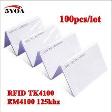 100 cái 5YOA Đảm Bảo Chất Lượng EM ID CARD 4100/4102 phản ứng thẻ ID 125 KHZ Thẻ RFID phù hợp cho Kiểm Soát Truy Cập Chấm Công