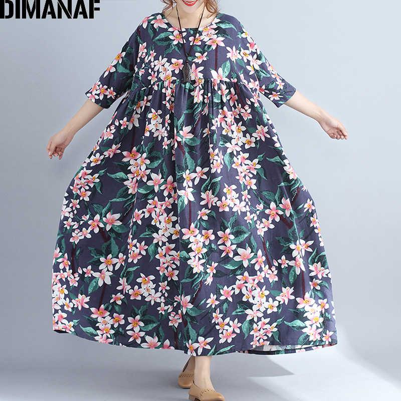 0568057f5ed6e Detail Feedback Questions about DIMANAF Women Dress Linen Plus Size ...