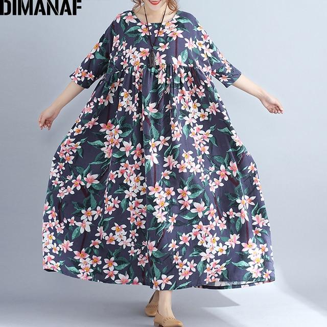 525bef0fb8 DIMANAF Plus Size kobiety Beach Dress duży rozmiar bawełna kobiet Vestidos  Sundress lato wakacje drukuj Floral Loose Lady sukienka w dużym rozmiarze