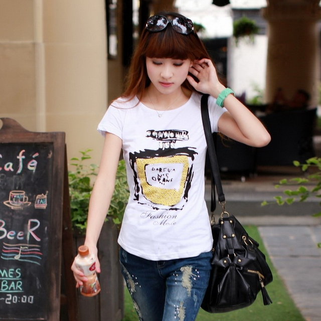Meters summer cotton 2013 100% rhinestones classic perfume bottle pattern print short-sleeve T-shirt plus size