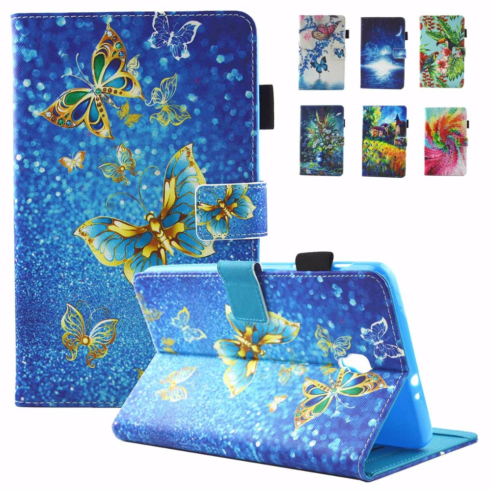 Fashion Art Prints Tablet Case Flip Folio Leather Magnetic Snap Stand Cases Cover for Samsung Galaxy Tab A 8.0 SM-T380 T385 2017 cartoon colorful case for samsung galaxy tab a 8 0 t380 sm t385 2017 smart cover funda tablet stand pu leather shell film pen