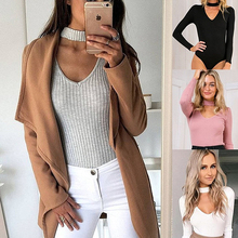 5 color xl plus size Fashion Autumn Winter Knitting Sexy Long Sleeve Vertical stripes choker Collar V neck women bodysuit