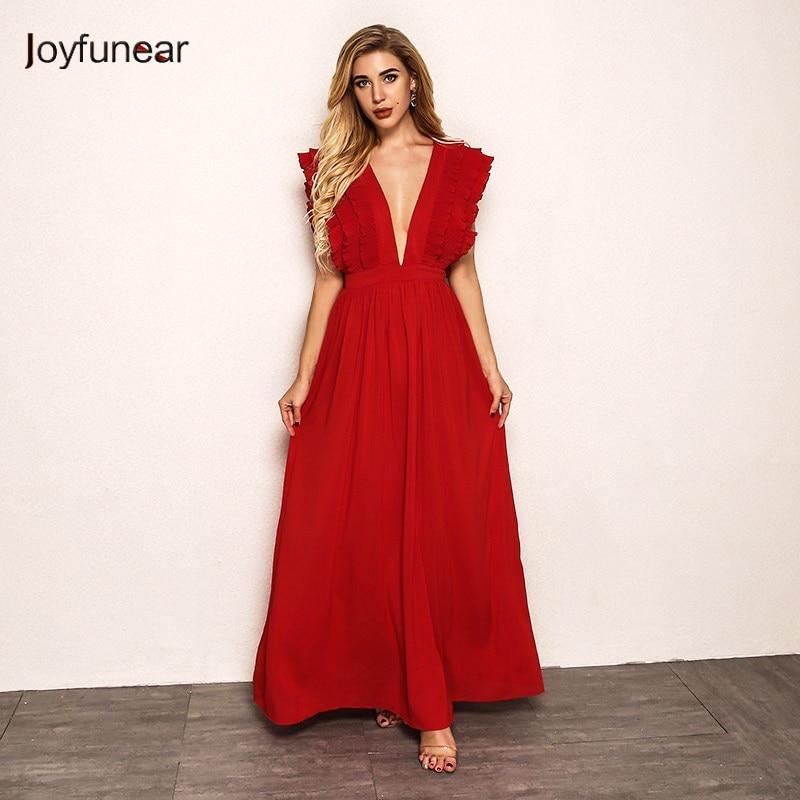 Joyfunear Petal Sleeve Elegant Long Party Dress 4DHM712