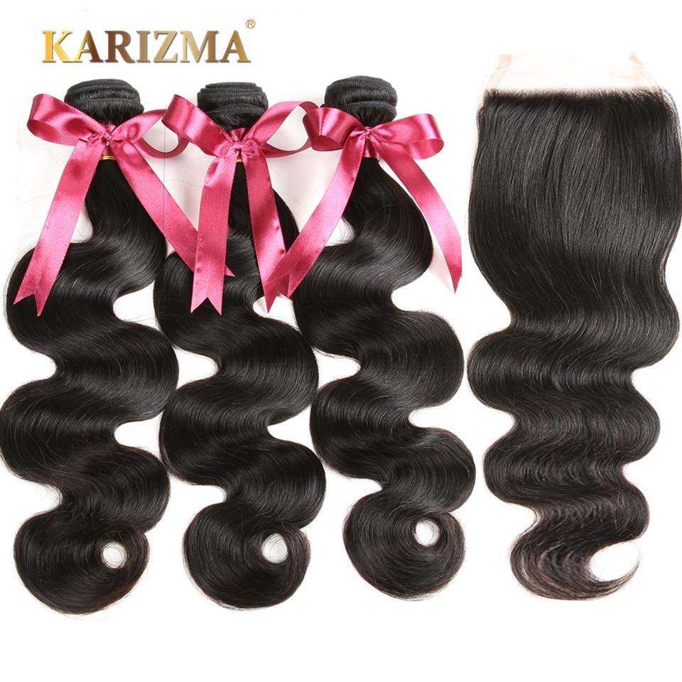 Karizma Body Wave 3 Bundles With Closure Brazilian Hair Weave Bundles Human Hair Bundles With Closure