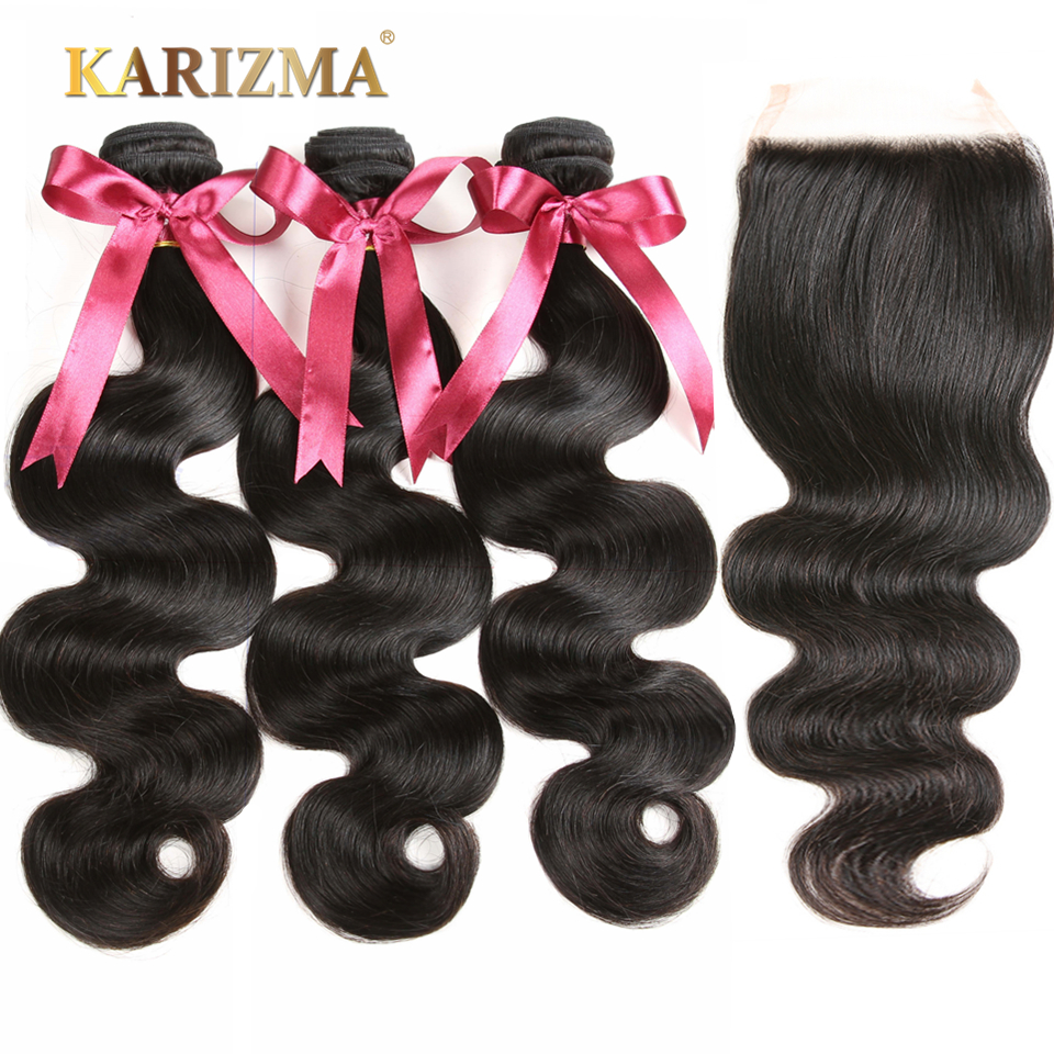 Karizma Brasilian Body Wave With Closure 4 stk 100% Human Hair - Menneskelig hår (for svart)