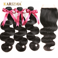 Karizma Brazilian Body Wave With Closure 4 Pcs 100 Human Hair Bundles 3 Bundles With Closure