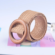2019 New Fashion Round Wooden Buckle Elastic Straw Belt Women Harajuku Casual Braided Wide Woven Waistbands Knitted Waist Belts(China)