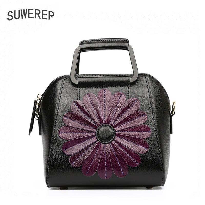 Femmes Nouvelles À black red Sacs Red Main Cuir Mode Designer Purple 2019 black De Petits Red Véritable Suwerer Black En Brown Fleurs xw4EqUP