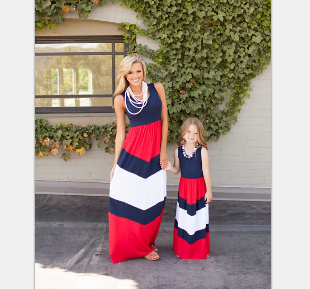 New Outfit Mommy And Me Matching Dresses 2017 Summer Mother And Daughter Girls Matching Red ...