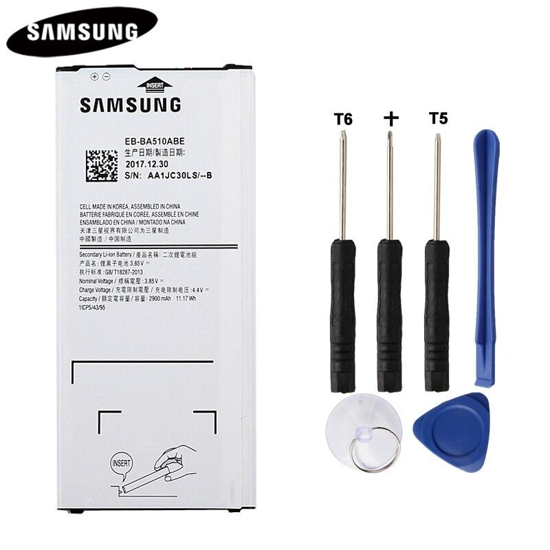 100% batería Original EB-BA510ABE para Samsung Galaxy A5 edición 2016 A510F A5100 auténtico de la batería de 2900 Mah