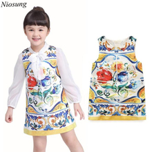 Niosung 2016 Summer Sweet Baby Girls Child Flower Printing Sleeveless Pincess Vest Dress Clothes Kids Child Princess Clothing v