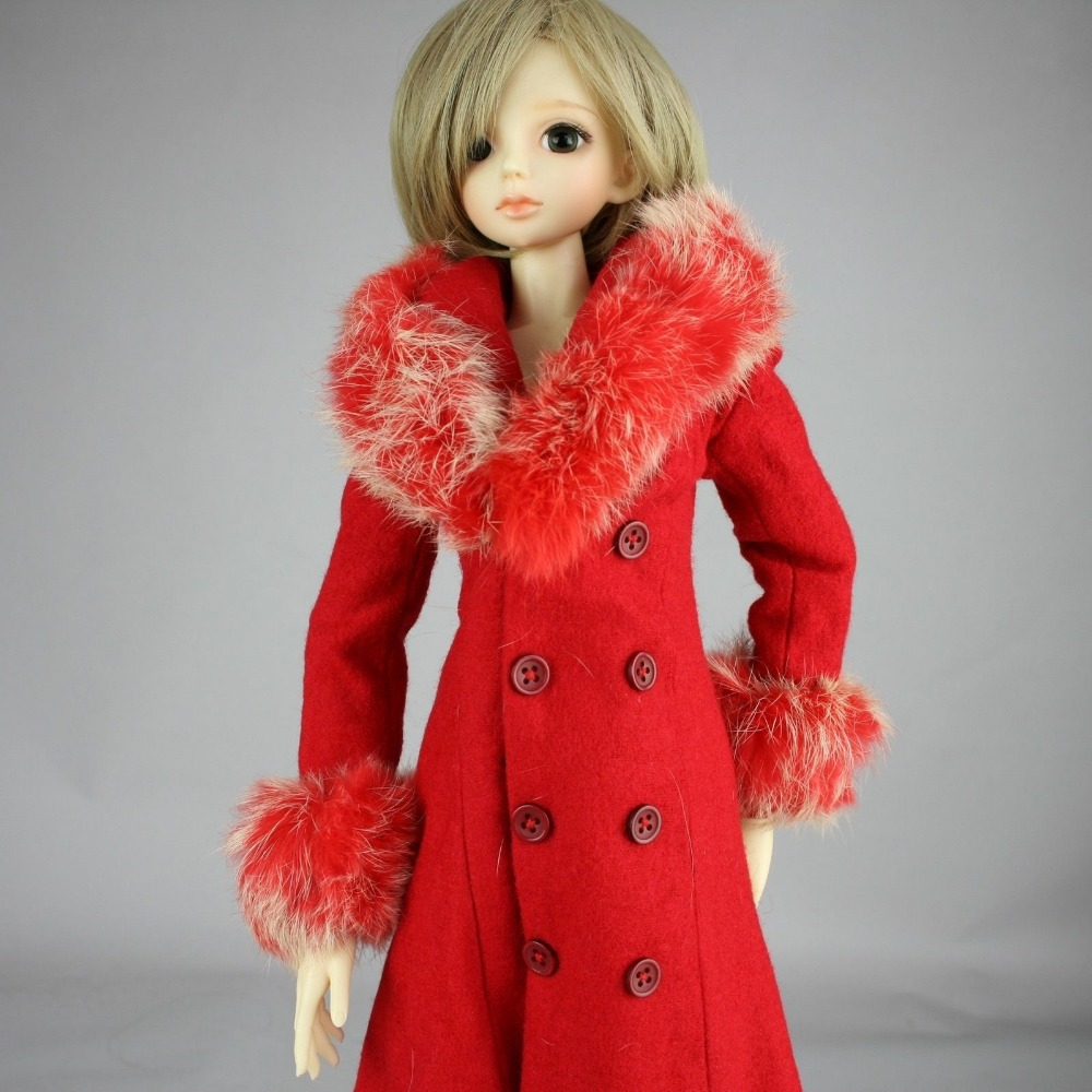 [wamami] 600# Red Fur Collar Coat 1/3 SD DZ BJD Dollfie handsome grey woolen coat belt for bjd 1 3 sd10 sd13 sd17 uncle ssdf sd luts dod dz as doll clothes cmb107