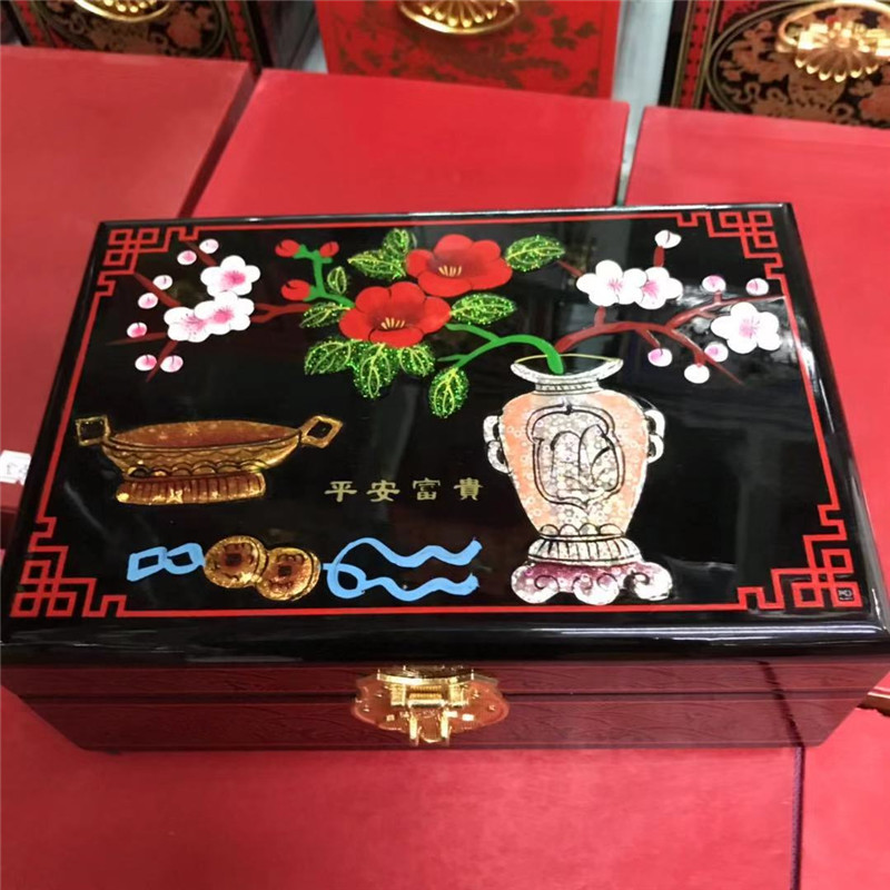 best gift NEW Chinese handmade classic wooden lacquer Blooming flowers 2 layers Jewelry box vase and