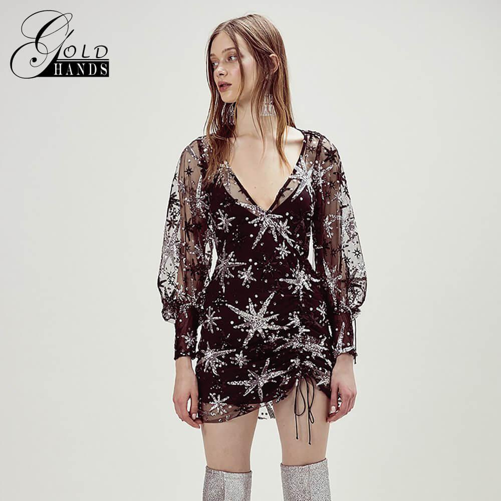 Or mains femmes Sexy maille transparente voir à travers Vestidos col en v dentelle à manches longues moulante fête soirée étoiles scintillante Mini robe