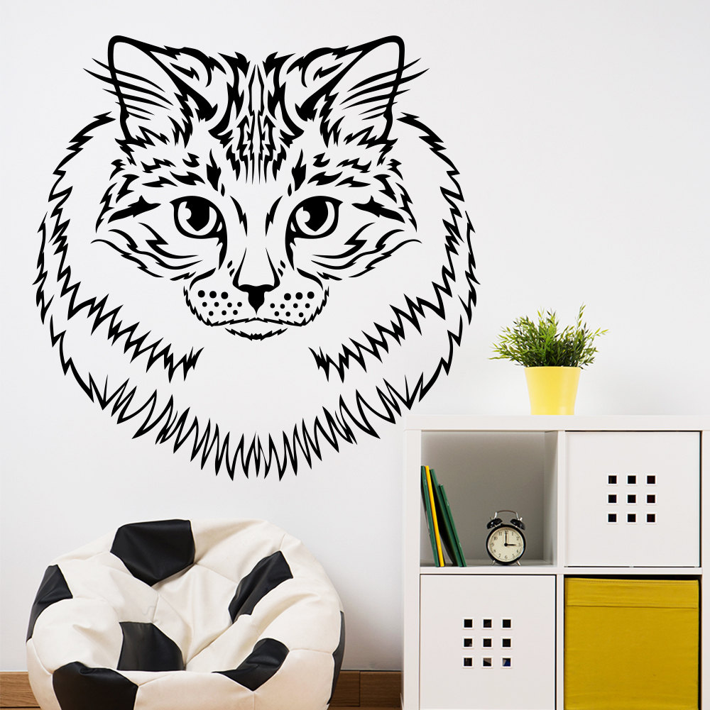 Wall stickers cat - Creative Designed Cat Head Art Wall Stickers Animal Series Fashion Special Wall Stickers Cat Head In