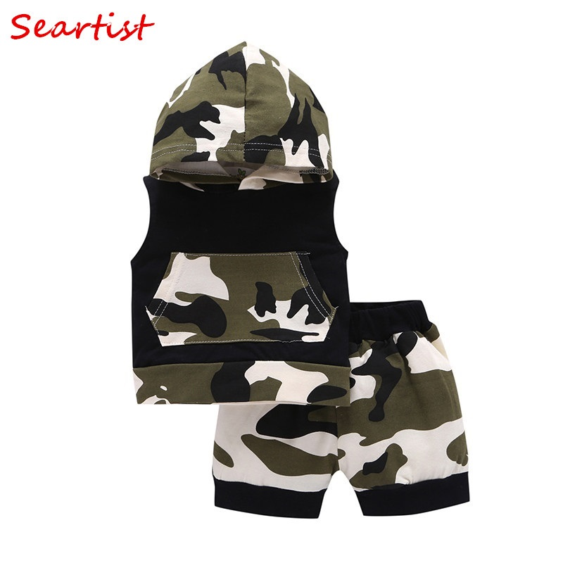 Seartist 2018 New Baby Boys Clothing Set Summer Short Sleeved Hooded Suit Boys Clothes 2Pcs Sets Hoodies+Shorts Camouflage 35C baby 2017 children fashion summer baby boys clothing sets 2pcs camouflage pattern casual suit clothes sets boys set