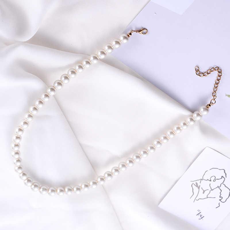 สุกี้เครื่องประดับ Clavicle Chain Choker จำลองไข่มุกลูกปัดสร้อยคอสำหรับเจ้าสาว Torques ผู้หญิงสีขาวงานแต่งงานของขวัญ