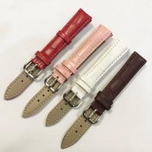 купить Watchbands Genuine Leather WatchBand Stainless Steel Buckle Clasp watch band leather strap 12 14 16 mm по цене 153.06 рублей