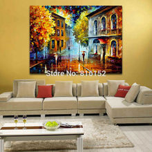 100% Hand-painted Palette Knife Street Harbor Cityscape Architecture Painting Canvas Oil Painting Unframed Wall Art Home Decor