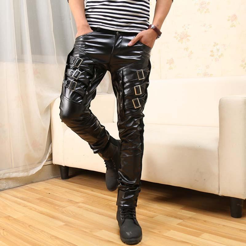 Nueva llegada Mens coreano Gothic Punk moda Faux cuero pantalones PU - Ropa de hombre - foto 4