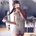 2016 Sequin Short Jumpsuits women CrossBackless Bodycon Jumpsuits Tight Fitted Tie Back Bodysuit  Spaghetti Strap Playsuit