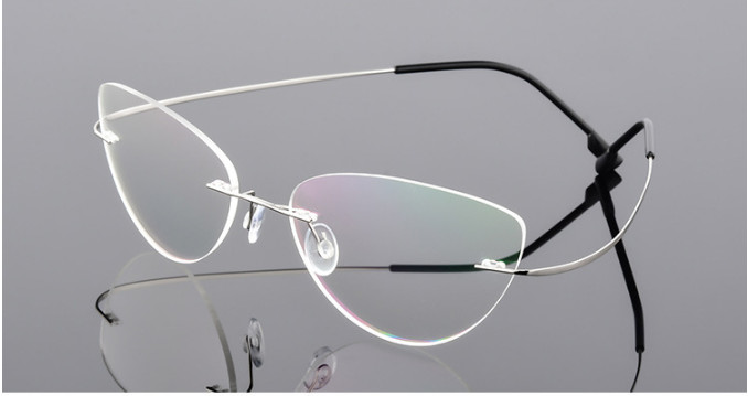 Image 4 - Cat eye titanium rimless Reading Glasses ultra light women alloy Rimless reading eyeglasses Presbyopic glasses +50 +100 to +600-in Women's Reading Glasses from Apparel Accessories on AliExpress