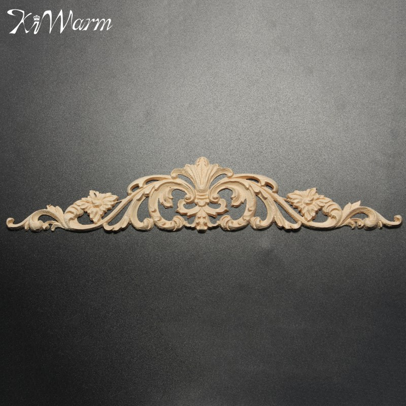 KiWarm Newest Wood Carved Corner Woodcarving Decal Onlay Applique for Home Furniture Cabinets Decor Decorative Sculptures headpiece