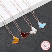 S925 sterling silver pendant necklace personality fashion creative shell butterfly shape inlaid ochre clavicle chain jewelry
