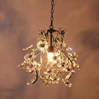 Hallway pink crystal flower lamp Chandelier for dining room Restaurant Balcony Bar Bedroom pink chandelier E14 Led Lamparas
