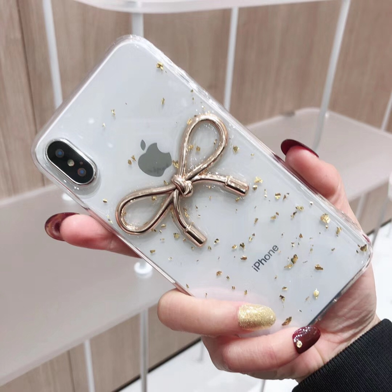 Tfshining Fashion Bow Tie Phone Cases For iphone X XR XS Max 6 6s 7 8 Plus Gold Foil Glitter TPU Clear Cover Coque For Girls Hot (6)