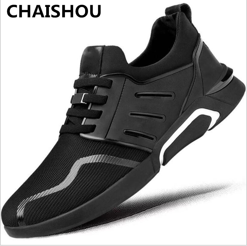 ae873e98 CHAISHOU/Новинка 2019 года; модные черные мужские кроссовки; повседневная  обувь на плоской подошве; Мужская дышащая обувь из сетчатого материала; .