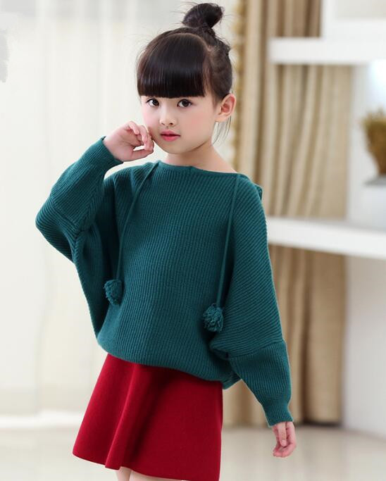 2017 autumn children s clothes girls sweaters fashion bat sleeves baby girl knitted hooded sweaters for