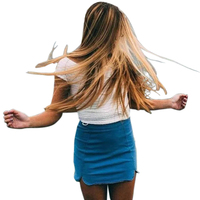 2016 Fashion New Spring Summer Jeans Mini Skirt Women American Apparel Style Bodycon Wrap Skirt Short