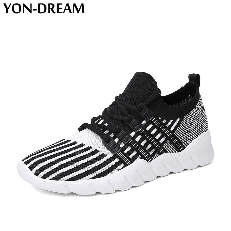 YON-DREAM 2018 Leisure Fly Weave Men Sneakers Rubber Non-Slip Wear-Resisting Soft Med Shoes Flexible Classic Male Sneakers Youth