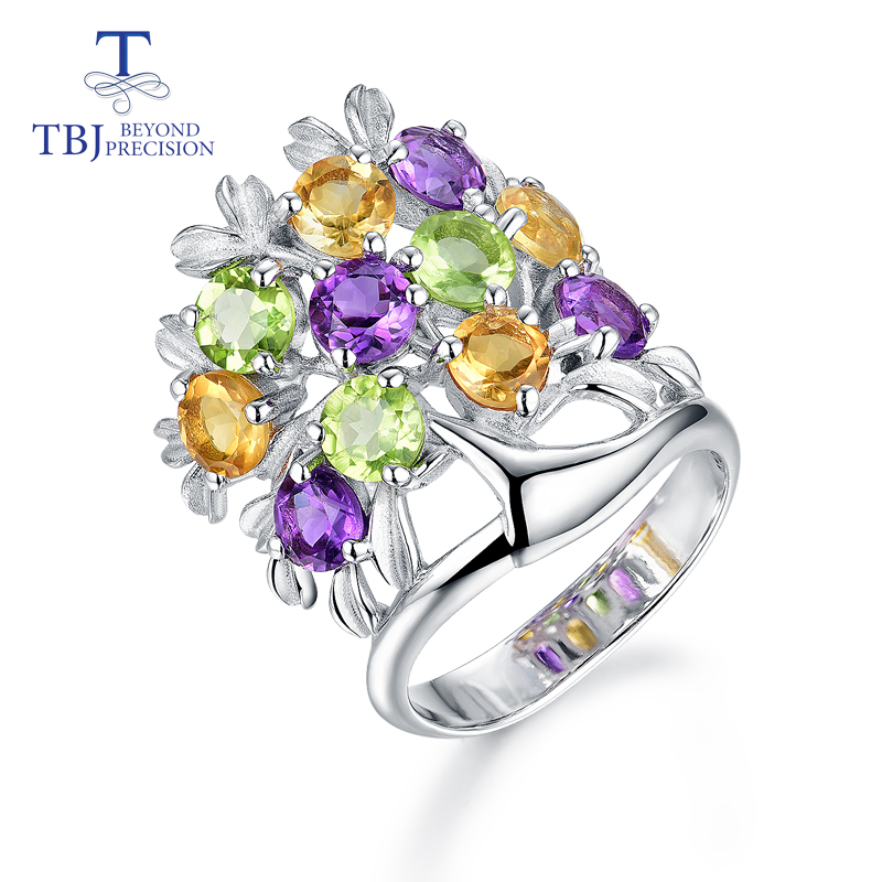 TBJ 925 sterling silver special design flower style natural multi color mix gemstone rings fine jewelry